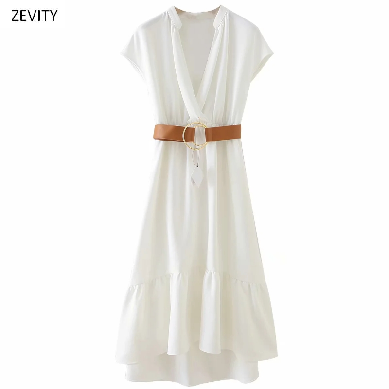 Zevity New Women V Neck Solid Short Sleeve Vestido Elastic Waist Sashes Midi Dress Chic Female Hem Ruffles Casual Dresses DS3964