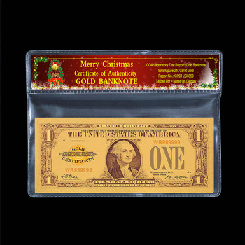 1928 collection of Money us dollars 2 5 100 1000 5000 denomination dollar old ticket gold-plated Christmas plastic gift 2 pc/lot image