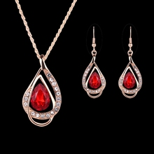 Women Jewelry Set Waterdrop Design Faux Gemstone Pendant Necklace Hook Earrings faux rammel tiddler round jewelry set