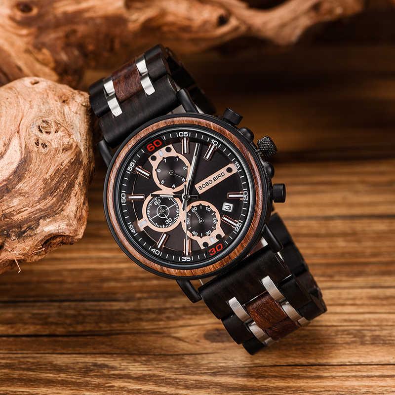 Bobo Bird Mewah Merek Pria Gold Chronograph Jam Tangan Mengukir Nama DIY Hadiah untuk Dia Hadiah Natal Kustom Reloj Hombre
