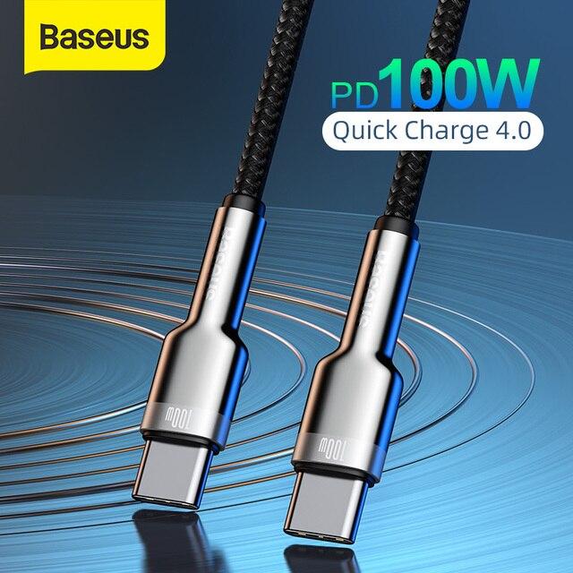 Baseus 100w usb c para usb tipo c cabo para macbook pro qc 4.0 pd usb c carregador rápido cabo para xiaomi redmi nota 8 pro samsung s20
