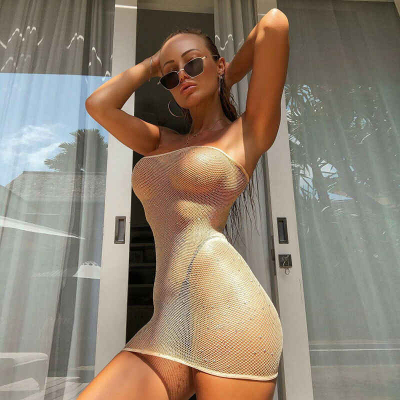 Vrouwen Mesh Sheer Bikini Cover Up Sexy See Through Badmode Off Shoulder Een Stuk Strand Jurk Zomer Clubwear Party Baden pak