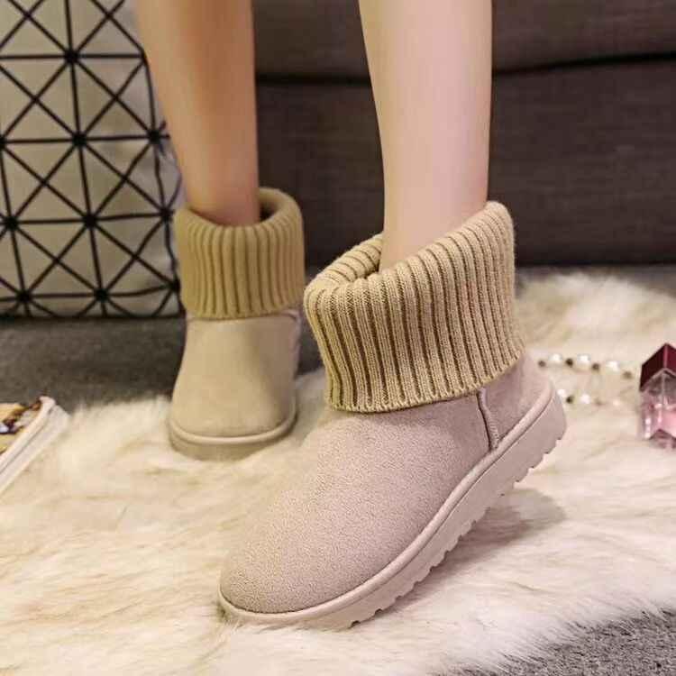 Designer 2019 Warme Winter Schnee Stiefeletten Flachen Boden Runde Kappe Frauen Flache Schnee Nicht-slip Pelz Frauen Winter socken Stiefel Frau