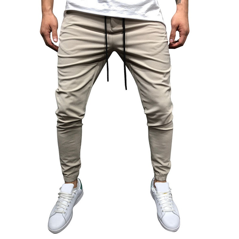 CYSINCOS Cargo-Pants Pencil-Trousers Drawstring Fitness Big-Size Casual Solid-Color Men