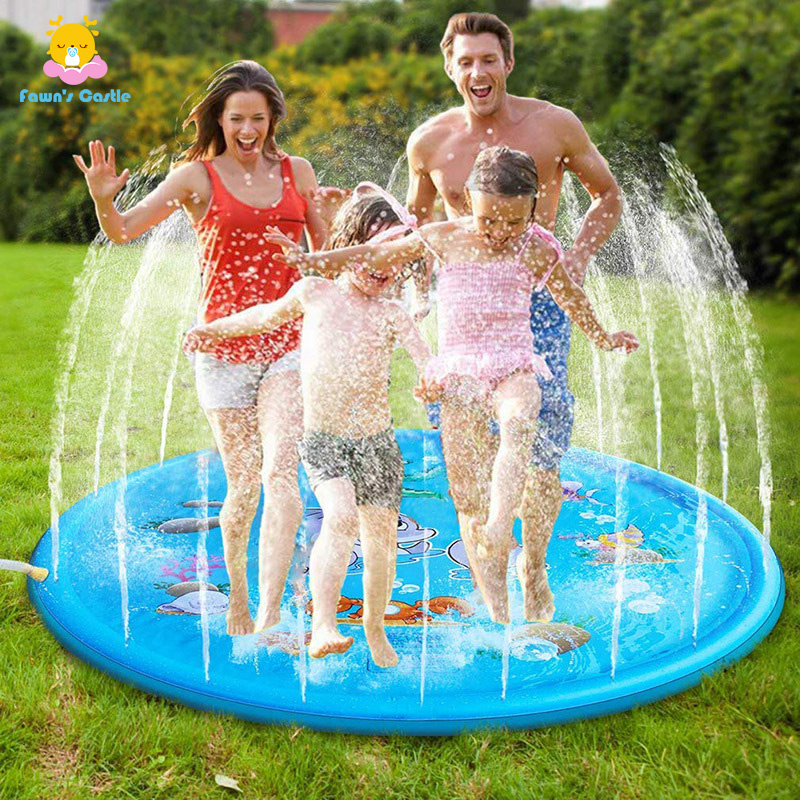 Childrens Water Splash Play Mat Inflatable Spray Water Cushion Summer Kids Play Water Mat Lawn Games Pad Sprinkler Play Toys Out
