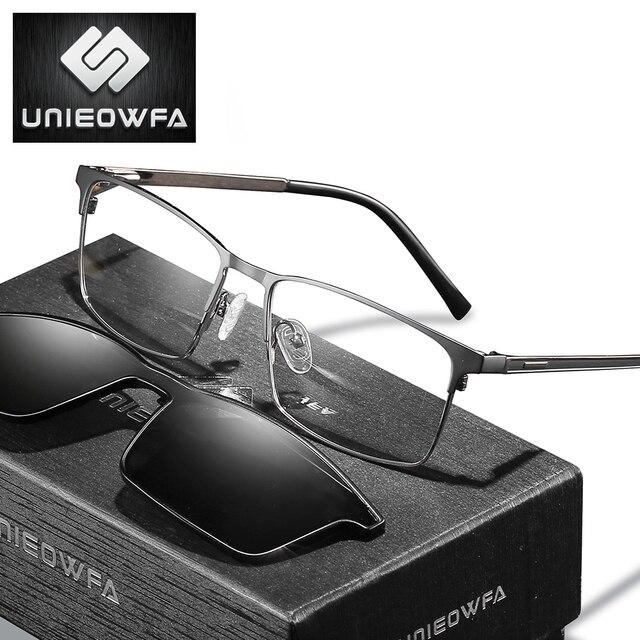 処方2で1マグネットクリップメガネフレーム男性光学偏光サングラス近視度眼鏡フレーム男性ブランド2020