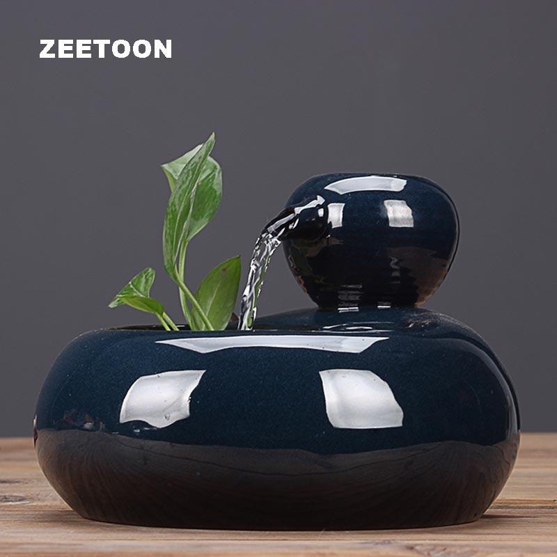 110 V-220 V en céramique fontaine d'eau ornements bureau bureau humidificateur hydroponique plante intérieur eau caractéristique cascade décor à la maison