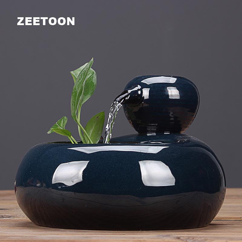 110V-220V Ceramic Water Fountain Ornaments Office Desktop Humidifier Hydroponics Plant Indoor Water Feature Waterfall Home Decor