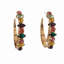 PRETTY GOLD COLOR PLATING HOOP WITH BIG COLORFUL STONE INSERTED EARRINGS FOR WOMEN