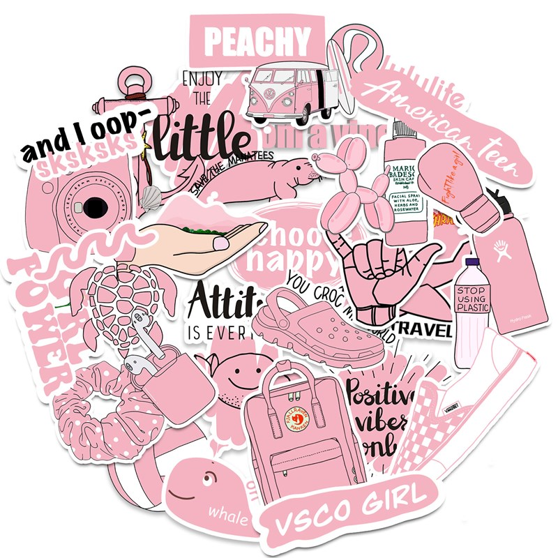 50pcs Cute Laptop Stickers For Vsco Girls Pink &blue Cartoon Stickers For Water Bottle Macbook Phone Skateboard Luggage Computer