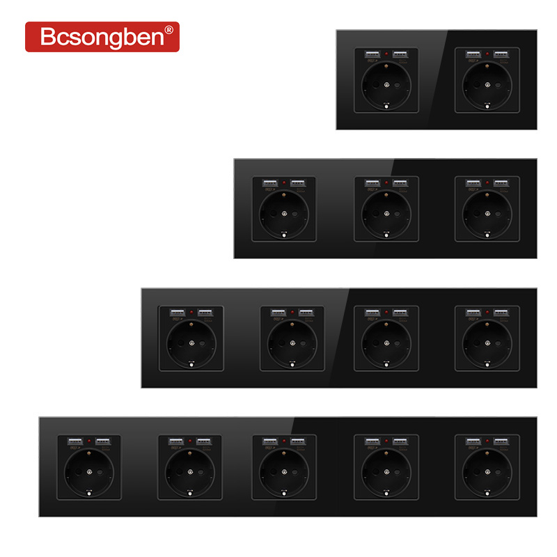Bcsongben usb with socket Wall Crystal Glass Panel Power Socket Plug Grounded 16A EU Standard  2 3 4 5 way Outlet 146mm   86mm