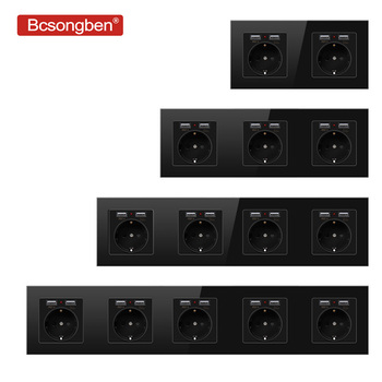 Bcsongben usb with socket Wall Crystal Glass Panel Power Socket Plug Grounded, 16A EU Standard  2/3/4/5 way Outlet 146mm * 86mm leory table pop up electrical socket eu plug 3 4 5 power plug sockets 2 usb charge outlet 250v 16a power indicator aluminum
