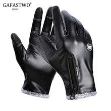 Зимние мужские кожаные перчатки женские модные черные водонепроницаемые Бархатные Теплые Женские ветрозащитные Нескользящие перчатки на весь палец