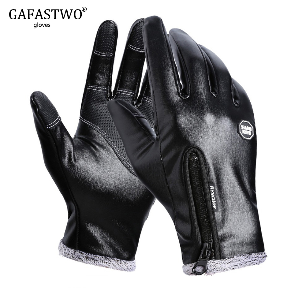 Winter Men Leather Gloves Women Fashion Black Touch Screen Waterproof Velvet Warm Ladies Windproof Non-Slip Full Finger Gloves
