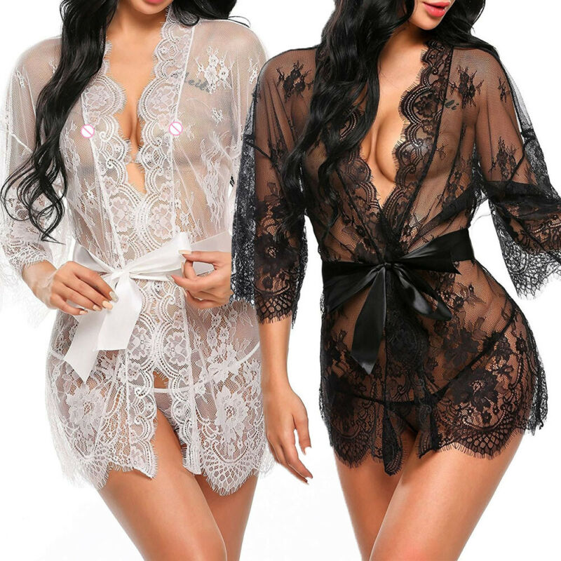 <font><b>Sexy</b></font> <font><b>Lingerie</b></font> Lace Robe <font><b>Dress</b></font> <font><b>Women</b></font> Nightwear Underwear <font><b>Babydoll</b></font> Sleepwear Solid <font><b>White</b></font> Black image