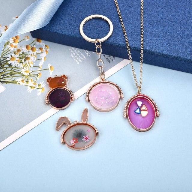 7/9pcs Open Bezel Set Blank Frame Epoxy Resin Jewelry Making Oval Rectangular Cat Shape Alloy Pendant Necklace DIY Accessories