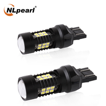 цена на NLpearl 2x Signal Lamp T20 W21W LED W21/5W LED WY21W 7440 7443 LED Bulb 3030 SMD Turn Signal Light Brake Reverse Light Red White