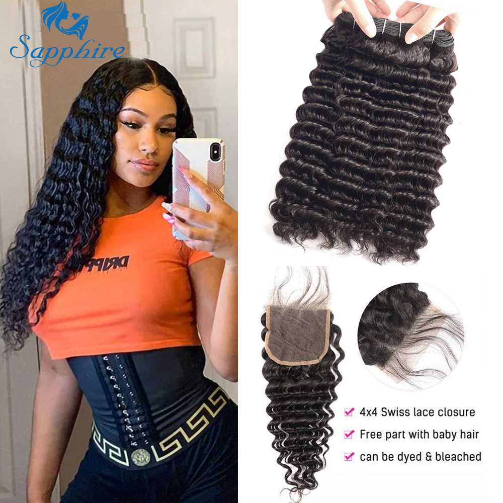 Sapphire Brazilian Curly Hair Weave Bundles With Closure 3 Bundle With Lace Closure Human Hair Deep Wave Bundles With Closure