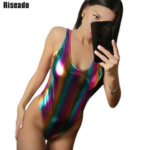 Riseado Sexy One Piece Swimsuit High Cut Swimwear Women Solid Glitter Swimsuits New U-back Bodysuits Beach Wear Bathers