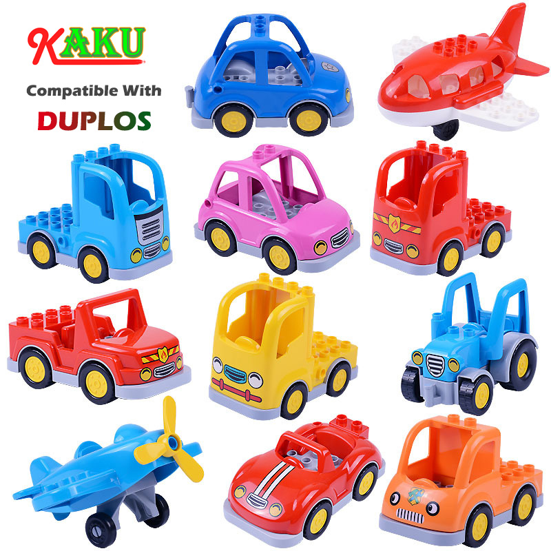 Compatible Legoed Duploed Big Size Bricks Children Building Blocks Toys Car Aircraft Engineering Truck Tractor Models Toys Gifts