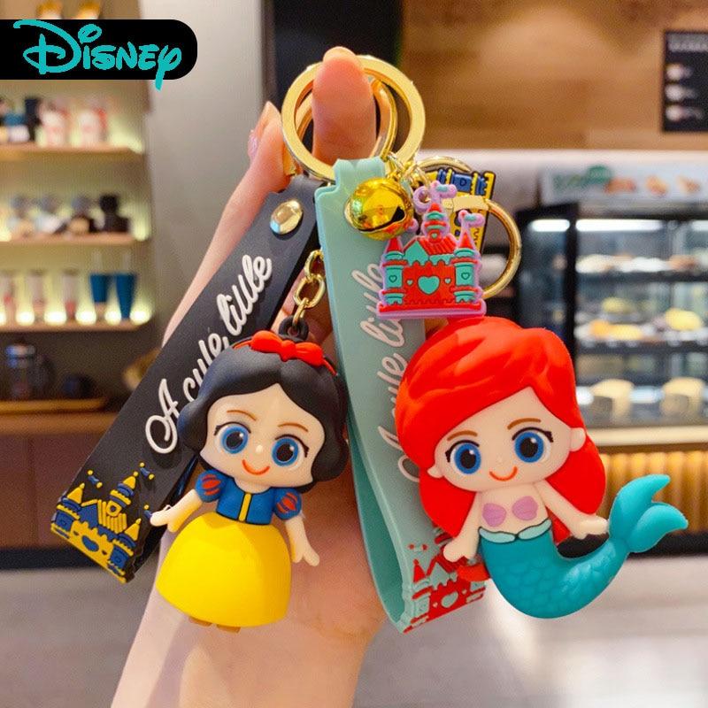 Cartoon Glue Drop Girl Mermaid Princess Key Chain Lovely Snow White Alice Keychain Bag Accessories Keyring Woman Cute