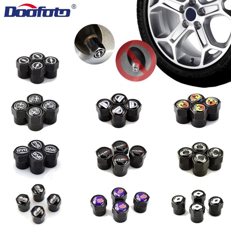 Doofoto 4x Car Valve Caps Wheel Tyre Tire Stem Covers For Alfa Romeo Renault BYD Opel SAAB Dacia Ssang Yong Accessories Styling