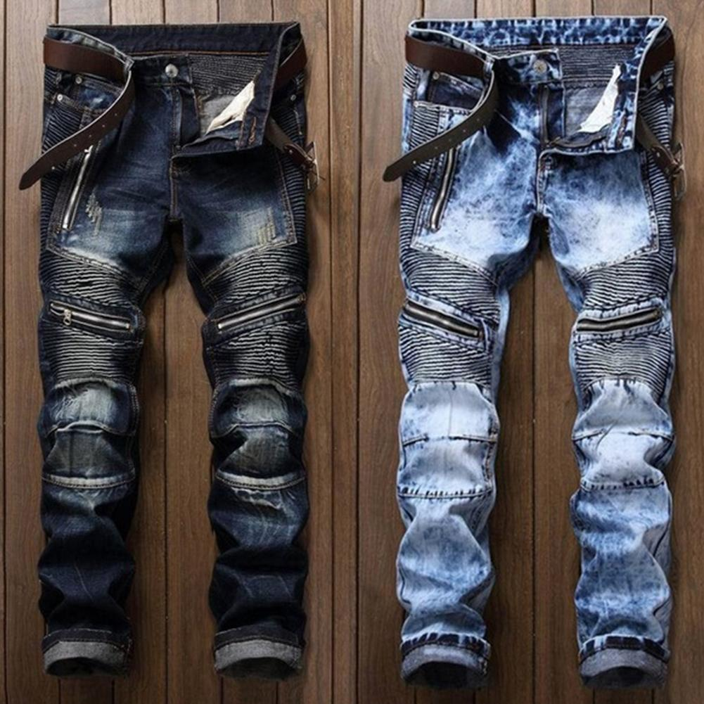 Men's Pleated Biker Jeans Pants S-lim Fit Brand Designer Motocycle Denim Trousers For Male Straight Washed Multi Zipper Shipping
