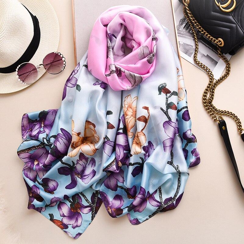 2020 New Spring Scarf Print Shawls And Wraps Silk Scarf For Women Floral Printed Femme Hijab Foulard
