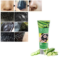 Wholesale 1Pcs Skin Whitening Brighten Cucumber Extract Black Mask Nose Blackhead Remover Mask Pore Cleanser Black Head(China)
