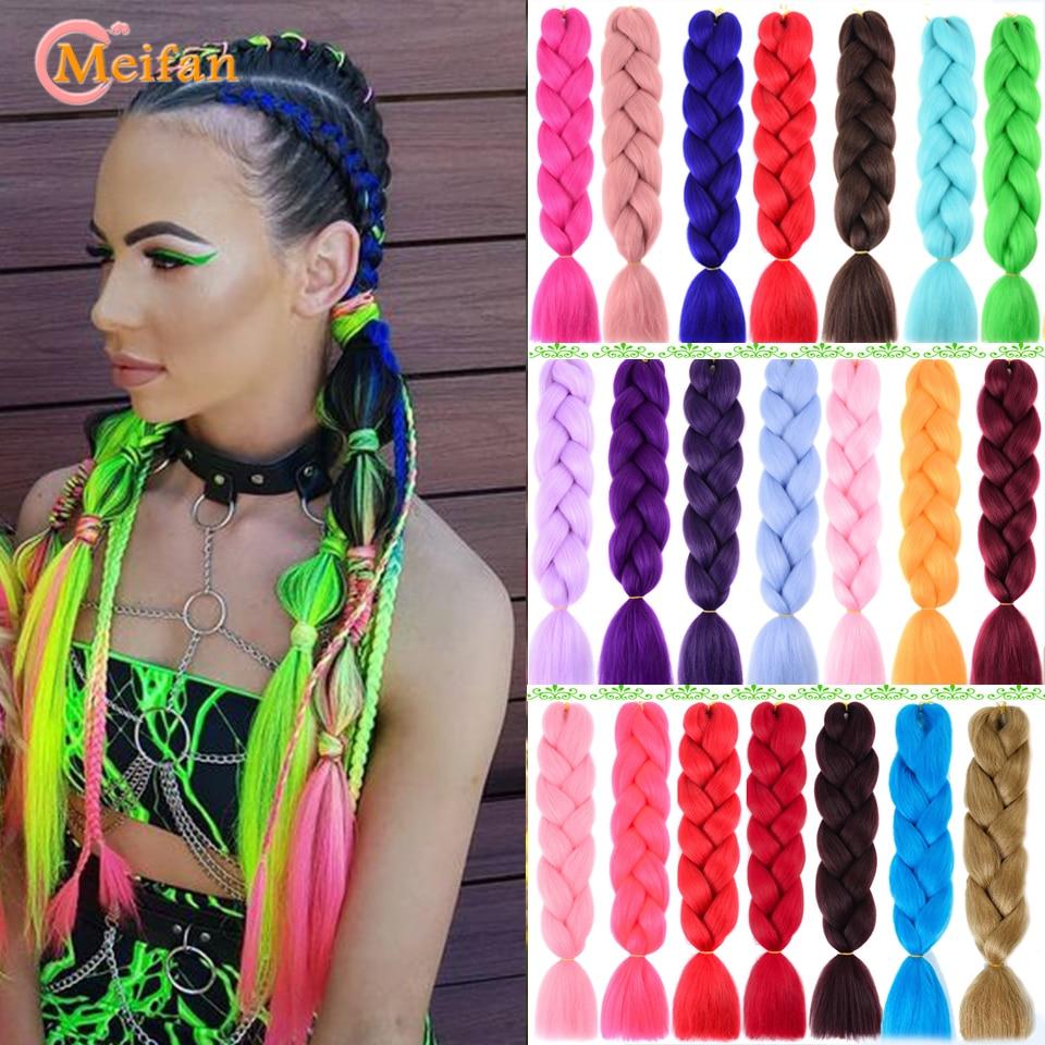 MEIFAN 100g/Pack Ombre Pink Purple Blue Blonde Color Synthetic Jumbo Braids Rainbow Kanekalon Braiding Hair Extension For Women