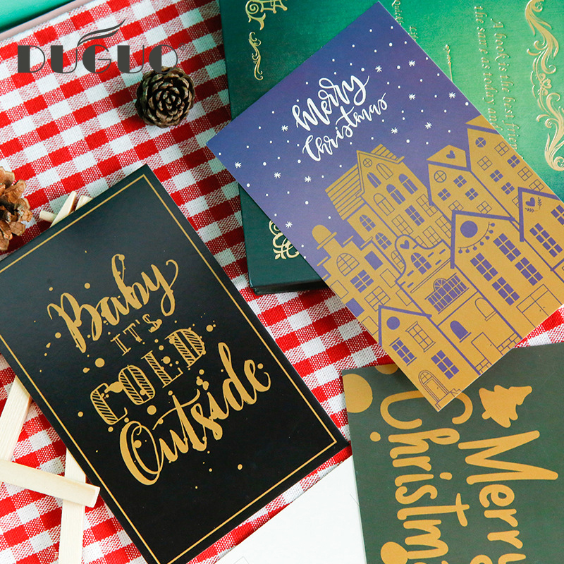 DUGUO Cute Stationery Boxed Postcard Christmas Small Love Song Creative Routine Gift Message Blessing Greeting Card