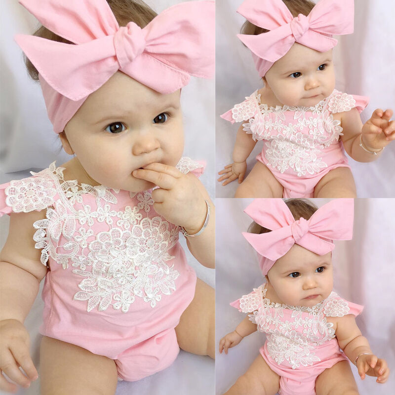 Newborn Infant Baby Girls Sweet Lovely Summer Bodysuit Short Sleeve Lace Floral Pink Covered Button Bodysuit Headband 2PCS