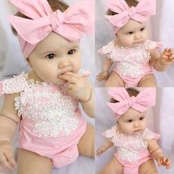 Милый Летний боди для новорожденных девочек, Кружевное боди с коротким рукавом и розовыми пуговицами, повязка на голову, 2 шт.