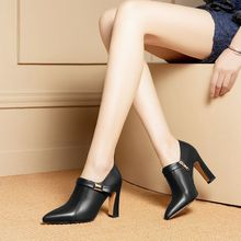 ALLBITEFO high quality genuine leather women heels fashion pointed toe high heel shoes spring autumn office ladies shoes