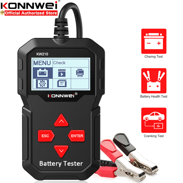 KONNWEI KW210 Car Battery Tester Analyzer For 12V Vehicle Auto Diagostic Charging Cranking Tools Charging System Regualr Flooded
