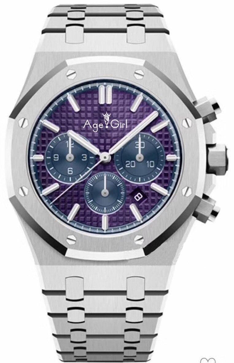 Nouvelle marque de luxe chronographe hommes saphir cristal verre argent gris rose limité chênes acier inoxydable Royal chronomètre AAA +