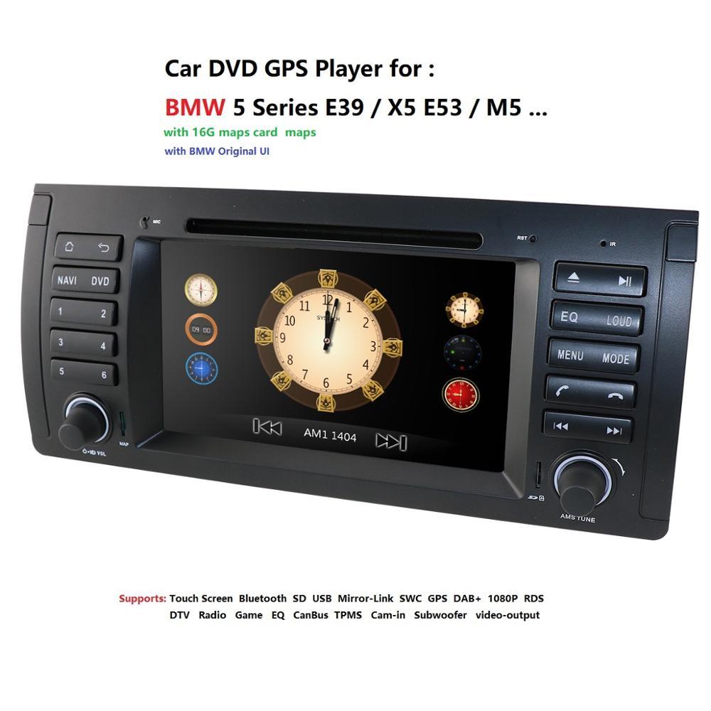 Lecteur multimédia voiture DVD GPS unité de tête pour BMW E39 X5 sat nav stéréo pour 5 séries E38 E53 520 commande au volant 8G carte
