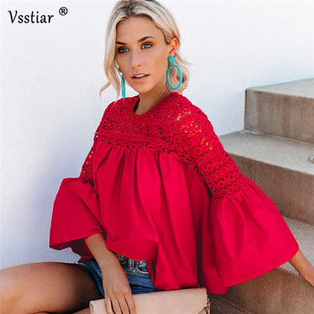 цена на Vsstiar Summer Long Sleeve Blouse Women Plus Size Elegant Office Work Casual Top Black Red Hollow Out Lace Patchwork Sexy Blouse