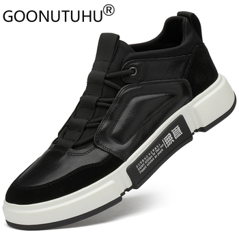 2019 new autumn fashion men's shoes casual genuine leather male flats sneakers height increasing shoe man platform shoes for men