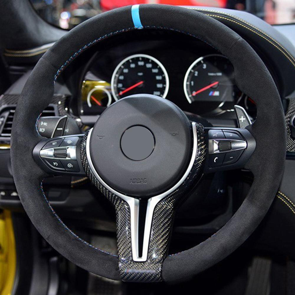 For BMW M2 F87 M3 F80 M4 F82 M6 F06 F12 F13 X5M F85 X6M F86 Carbon Fiber Steering Wheel Trim Cover For Decoration Car Styling