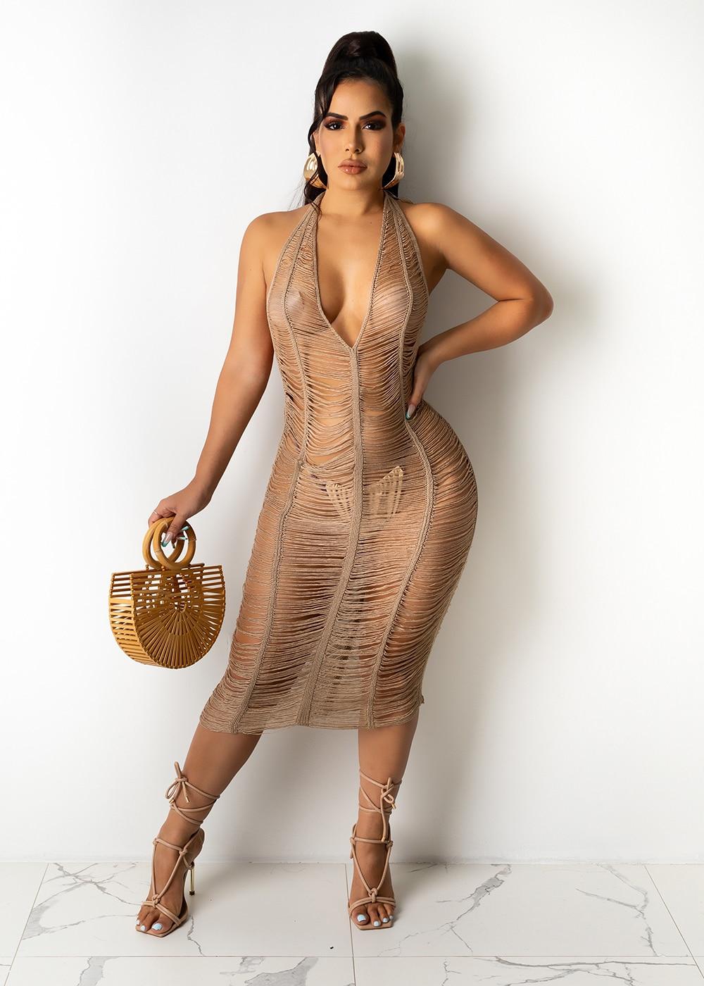 JRRY Sexy Women Knitted Dress Halter Backless Deep V Neck Crochet Dresses Sleeveless Hollow Out Bodycon Crocheted Beach Dress 1