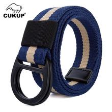 CUKUP New Fashion Design Double Ring Buckles Metal Belts Outdoor Canvas Casual Accessories 3.8cm Wide Belt for Men CBCK0150