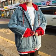 Autumn Denim Jacket Men Fashion Casual Fake Two Hooded Coat Man Streetwear Wild Loose Hip Hop Bomber