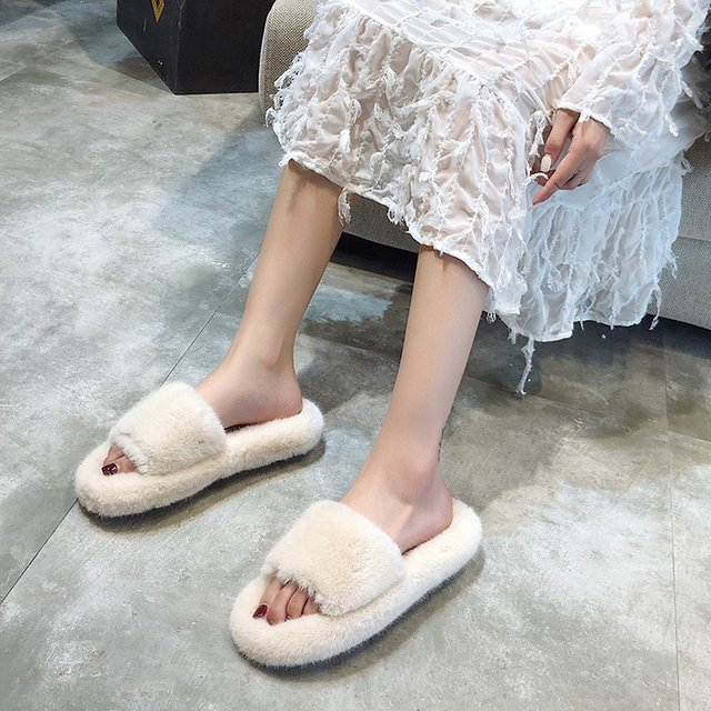 Plush Slippers Furry Ears Indoor Slippers  Sapato Feminino Shoes Woman