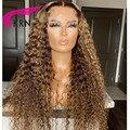 КРН вьющиеся парики из натуральных волос на кружевной Мёд блондинка 13x4 4x4 парик шнурка для Для женщин, натуральные бразильские волосы, корич...