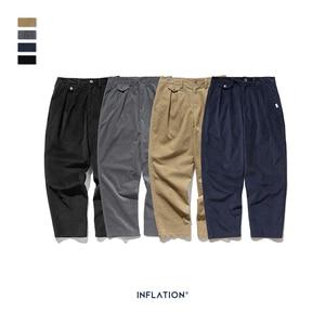 Image 5 - INFLATION 2020 Collection Wide Wale Men Corduroy Slacks Loose Fit Overalls Solid Color Men Corduroy Casual Street Pants 93326W