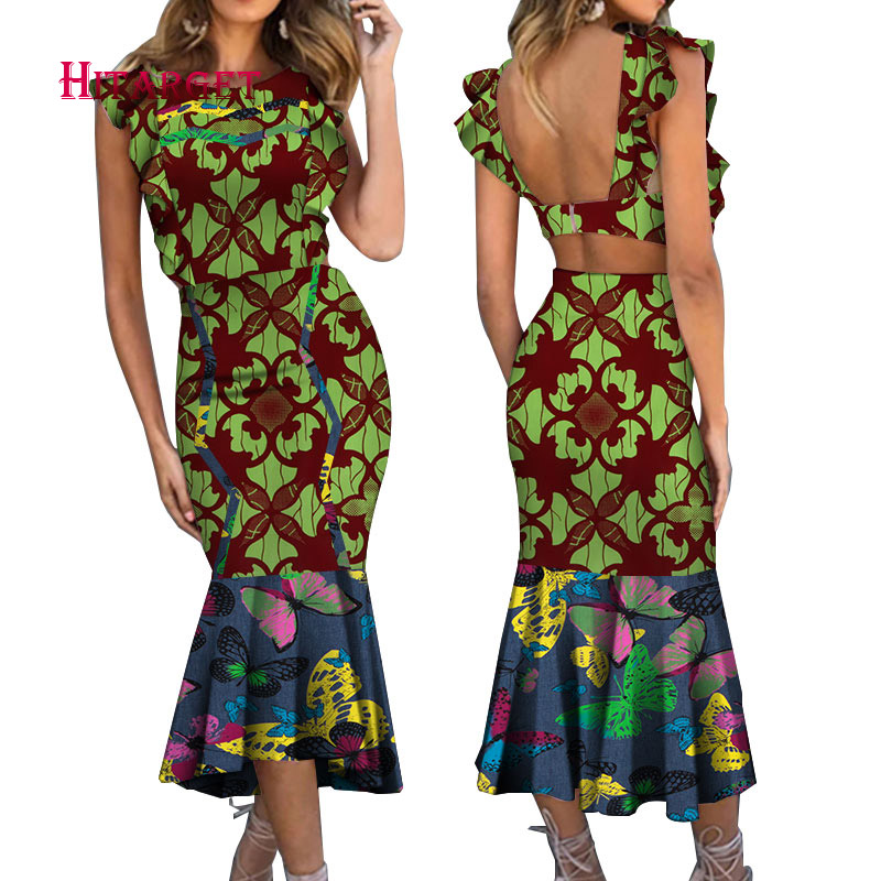 2019 Dashiki African Print elegant Dress Summer ankara wax Women clothes Party Dresses Plus Size 5XL african dress WY5033 in Africa Clothing from Novelty Special Use