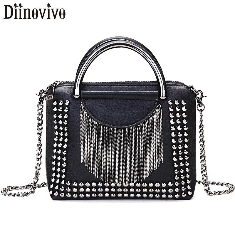 DIINOVIVO Rock Rivet Crossbody Bag Women Small Bags For Women Tassel Shoulder Bags Handbags Female Chain Messenger Bag WHDV1269