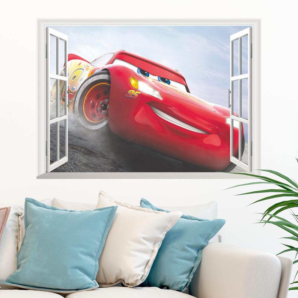 Cartoon Mcqueen Cars 3D Wall Stickers for Kids Room Boys Fake Window PVC Wallpaper Murals Sticker Decals Room Decoration Nursery 18