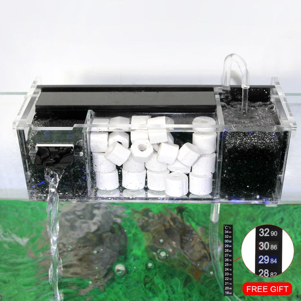 Senzeal Acrylic Aquarium Filter Box With Sterilization Increase Oxygen Water Filters External Hang On Filter Box
